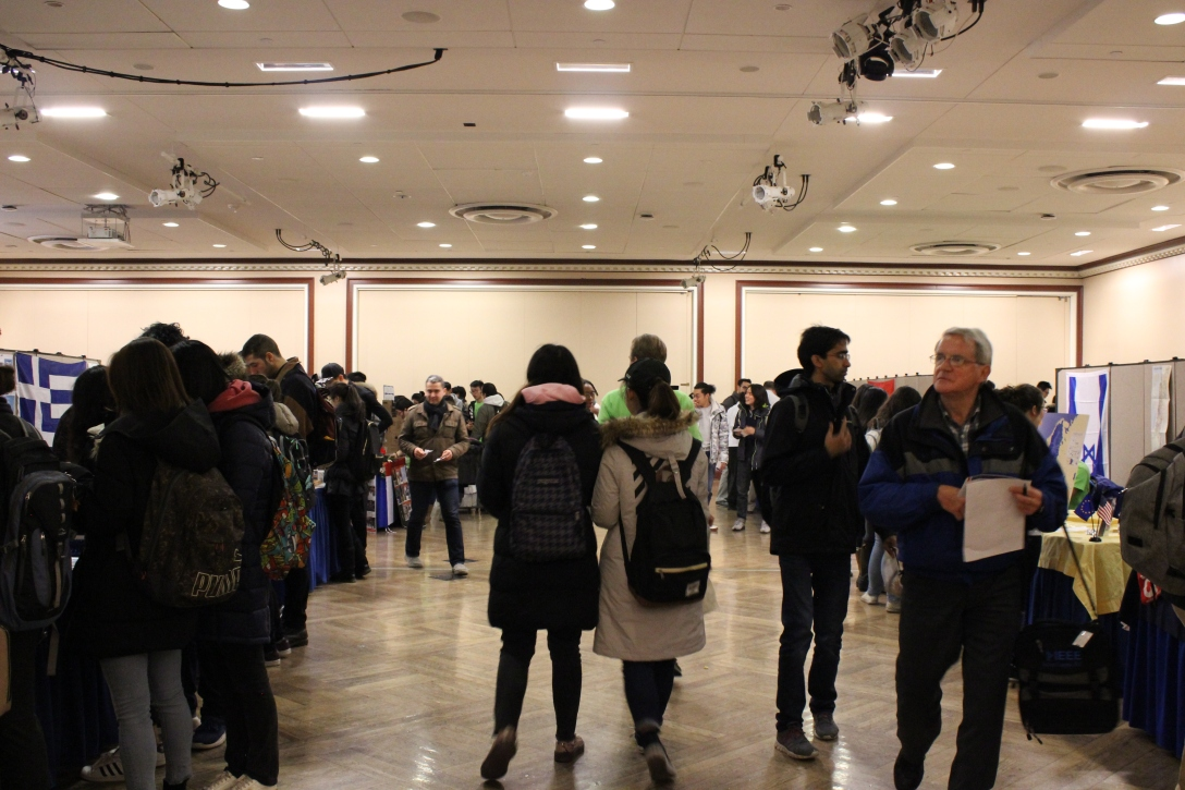 Students attend Travel Around the World, an event at the University of Illinois