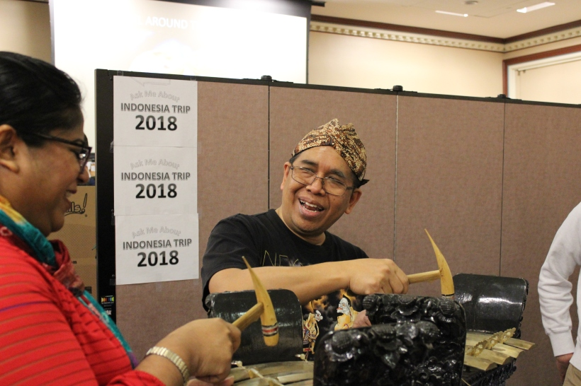 Leonardus Sudibyo plays a gamelan